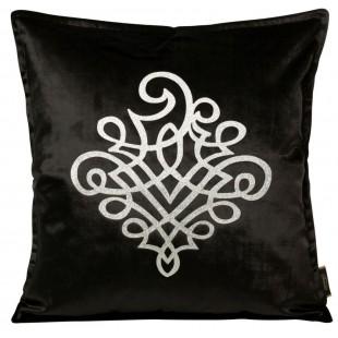 Obliečka na vankúš čierna so strieborným ornamentom