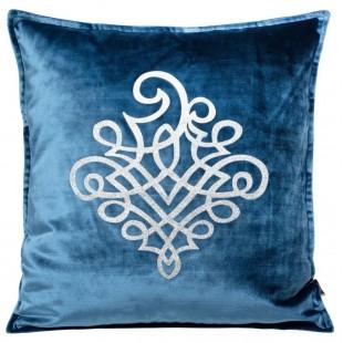 Obliečka na vankúš modrá so strieborným ornamentom
