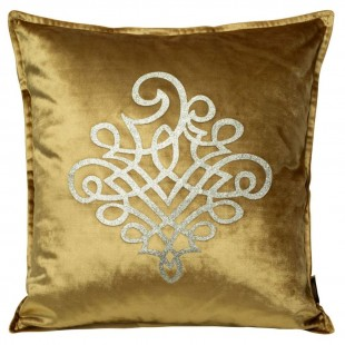 Obliečka na vankúš zlatá so strieborným ornamentom