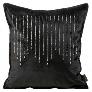 Obliečka na vankúš čierna jednofarebná s kubickým zirkónom