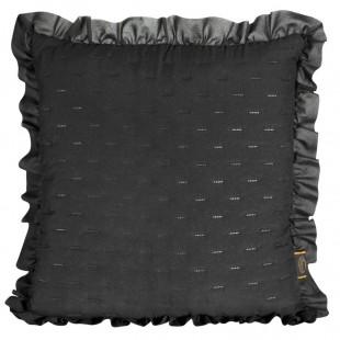Obliečka na vankúš čierna s volánovým lemom