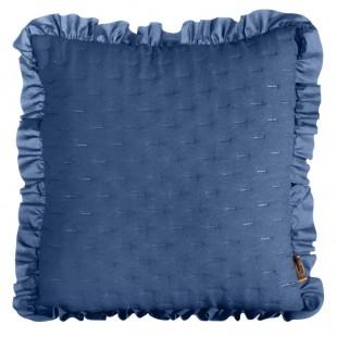 Obliečka na vankúš modrá s volánovým lemom