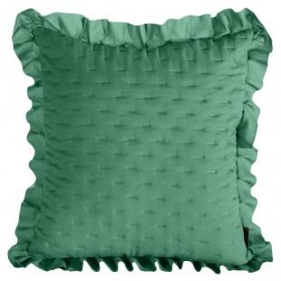 Obliečka na vankúš zelená s volánovým lemom