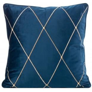 Obliečka na vankúš modrá s kosoštvorcovým motívom