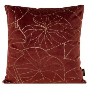 Obliečka na vankúš bordová so zlatým rastlinným motívom
