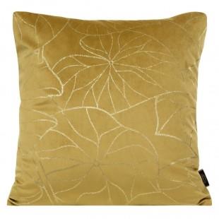 Obliečka na vankúš žltá so zlatým rastlinným motívom