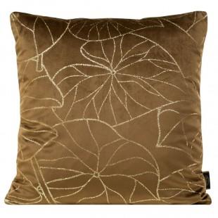 Obliečka na vankúš hnedá so zlatým rastlinným motívom