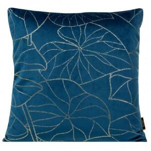 Obliečka na vankúš modrá so zlatým rastlinným motívom