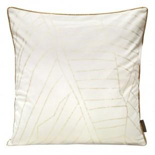 Obliečka na vankúš biela zo zamatu so zlatým lemom