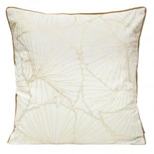 Obliečka na vankúš biela so zlatým rastlinným motívom a lemom