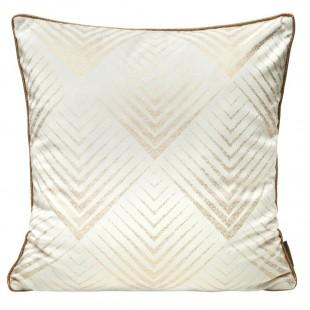 Obliečka na vankúš biela so zlatým geometrickým vzorom