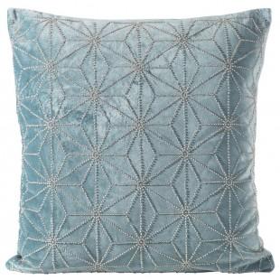 Obliečka na vankúš modrá zdobená malými korálkami