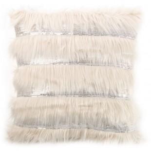 Obliečka na vankúš béžová s dlhým vlasom a flitrami