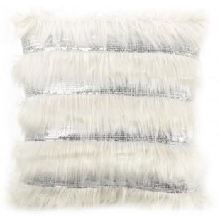 Obliečka na vankúš krémová s dlhým vlasom a flitrami