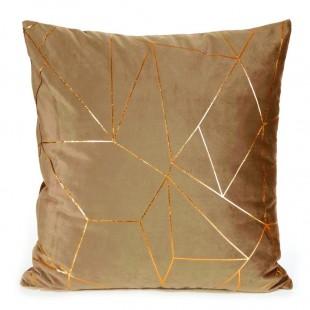 Obliečka na vankúš hnedá so zlatým líniovým vzorom