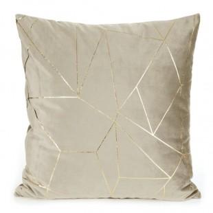 Obliečka na vankúš béžová so zlatým líniovým vzorom