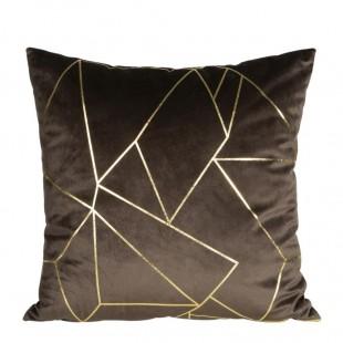 Obliečka na vankúš tmavohnedá so zlatým líniovým vzorom