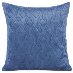 Obliečka na vankúš velúrová modrá s prešívaním
