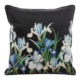 Obliečka na vankúš čierna s farebnou kvetinovou potlačou