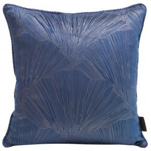 Obliečka na vankúš modrá s lesklým rastlinným motívom