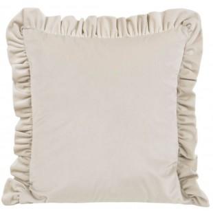 Obliečka na vankúš zamatová krémová s volánovým lemom