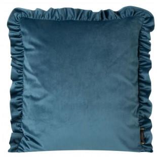 Obliečka na vankúš zamatová modrá s volánovým lemom