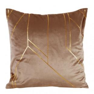 Obliečka na vankúš hnedá so zlatými čiarami