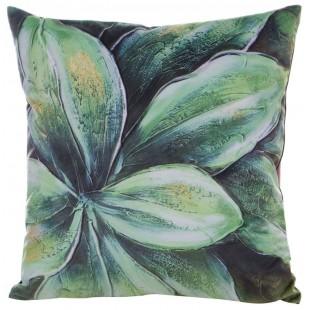 Obliečka na vankúš zelená s rastlinným motívom