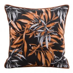 Obliečka na vankúš čierna s oranžovými vetvičkami