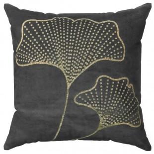 Obliečka na vankúš čierna so zlatým rastlinným motívom