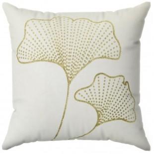 Obliečka na vankúš krémová so zlatým rastlinným motívom
