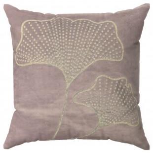 Obliečka na vankúš ružová so zlatým rastlinným motívom