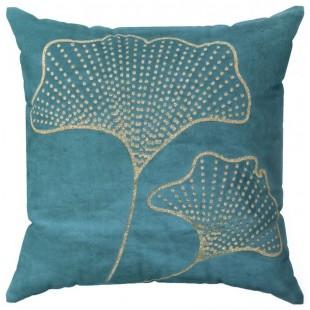 Obliečka na vankúš tyrkysová so zlatým rastlinným motívom