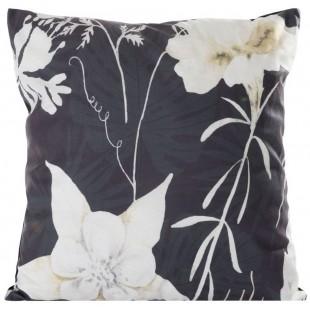 Obliečka na vankúš čierna zamatová s kvetinovým motívom
