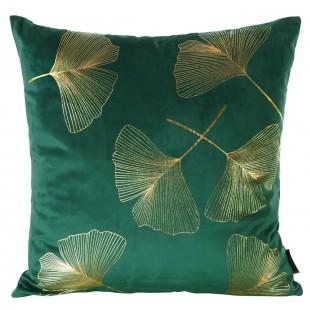 Obliečka na vankúš zelená so zlatým rastlinným motívom