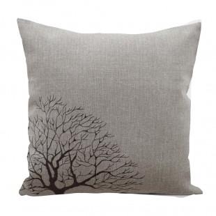 Obliečka na vankúš svetlosivá s motívom stromu a strapčekmi
