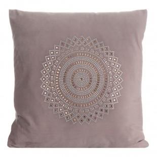 Obliečka na vankúš ružová zamatová s kamienkovým zdobením