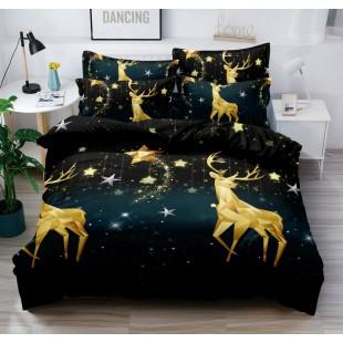 Posteľná obliečka čierna so zlatými jeleňmi a hviezdičkami