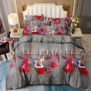 Posteľná obliečka sivá s červeným vianočným motívom