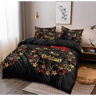 Posteľná obliečka čierna so zlato-červeným vianočným motívom
