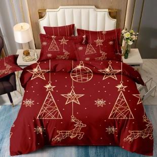 Posteľná obliečka červená so zlatým vianočným motívom