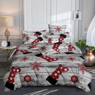 Posteľná obliečka sivá s červenými vianočnými čižmami