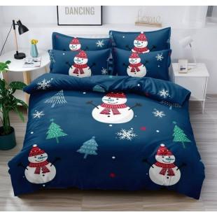 Posteľná obliečka modrá so snehuliakmi