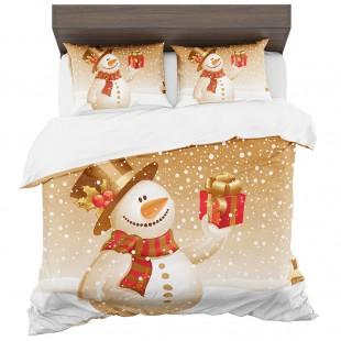 Posteľná obliečka bielo-béžová so snehuliakom