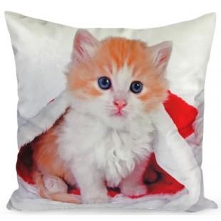 Obliečka na vankúš biela s mačičkou