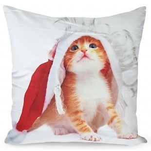 Obliečka na vankúš s mačičkou v mikulášskej čiapke