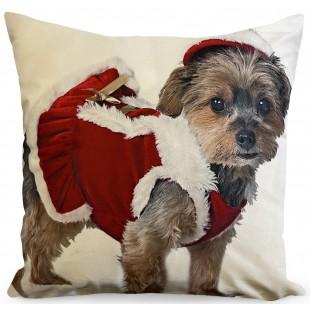 Obliečka na vankúš so psíkom vo vianočnom kostýme