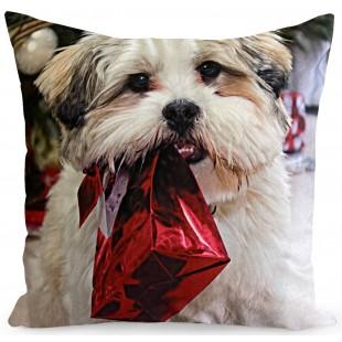 Obliečka na vankúš s motívom psíka s darčekom