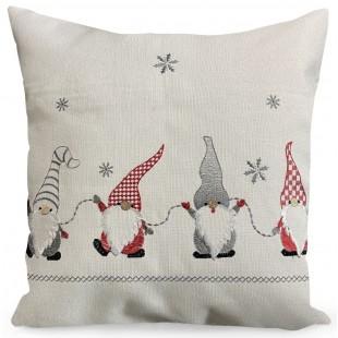 Obliečka na vankúš biela s motívom vianočných škriatkov