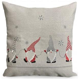 Obliečka na vankúš sivá s motívom vianočných škriatkov